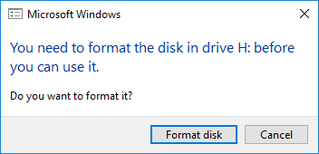 USB flash drive needs to format